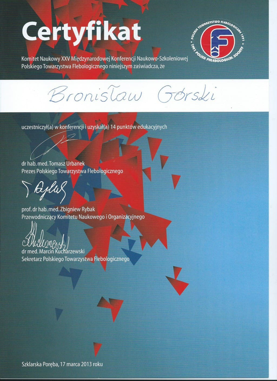 Komitet naukowy XXV miedzynarodowej konferencji naukowo szkoleniowej certyfikat
