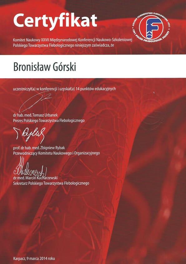Certyfikat komitetu naukowego XXVII miedzynarodowej konferencji naukowo szkoleniowej