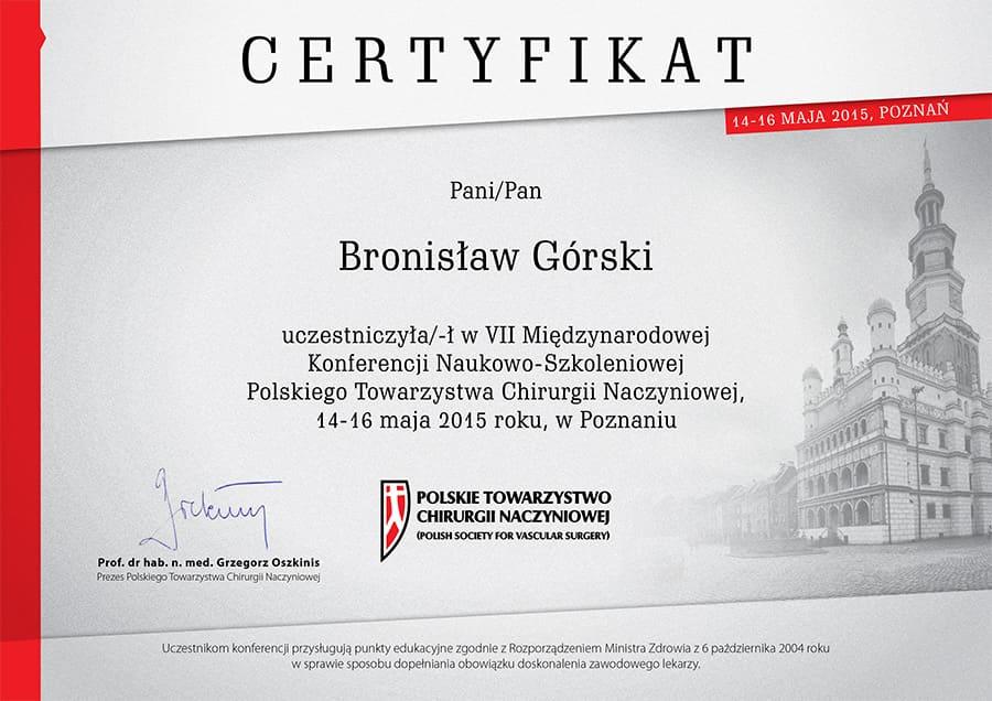 certyfikat uczestnictwa w VII miedzynarodowej konferencji naukowo szkoleniowe polskiego towarzystwa chirurgii naczyniowej