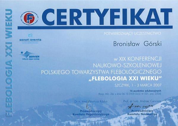 Certyfikat XIX konferencji naukowo szkoleniowej polskiego towarzystwa flebologicznego
