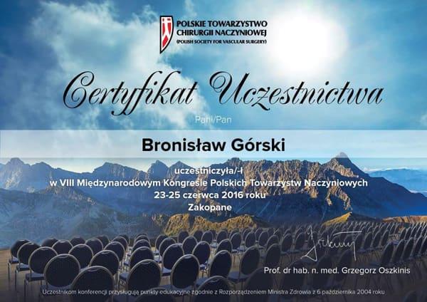 Certyfikat uczestnictwa
