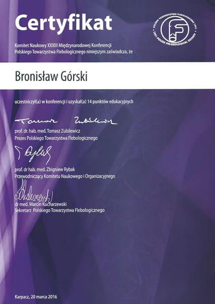 Certyfikat Komitet naukowy XXXIII miedzynarodowej konferencji polskiego towarzystwa flebologicznego