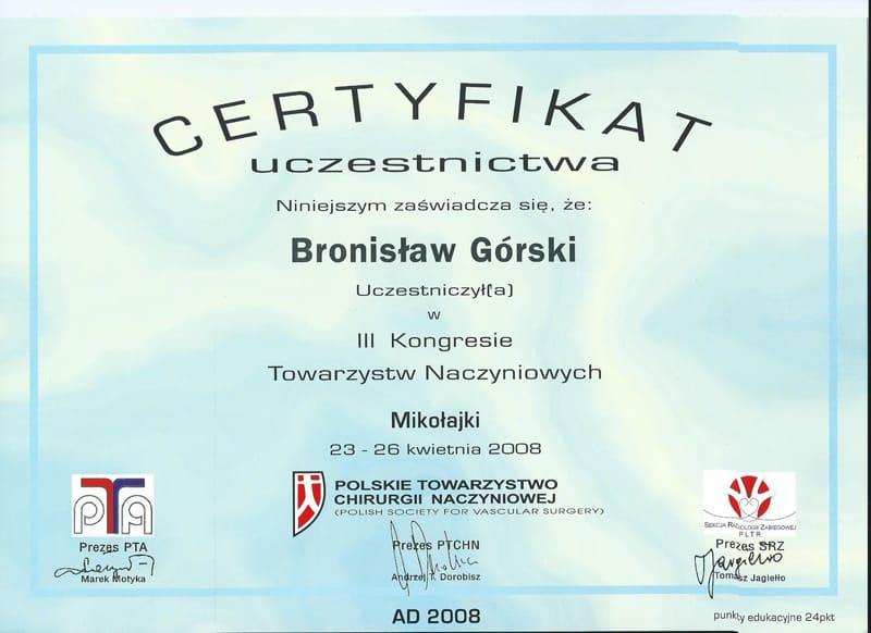 Certyfikat uczestnictwa w III kongresie towarzystw naczyniowych