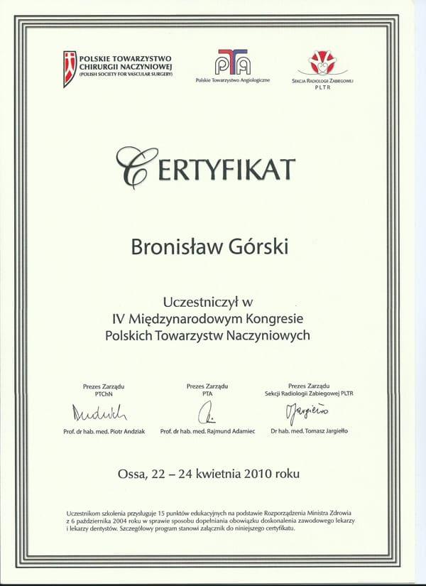 Certyfikat uczestnictwa w IV miedzynarodowym kongresie polskich towarzystw naczyniowych