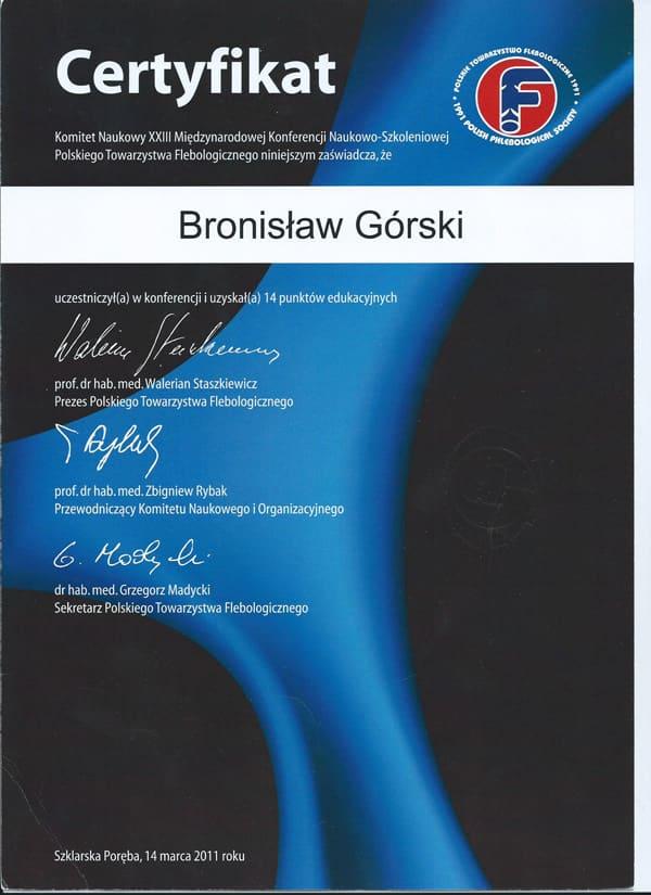 Komitet naukowy polskiego towarzystwa flebologicznego certyfikat