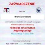 Certyfikat VII konferencji naukowo szkoleniowej