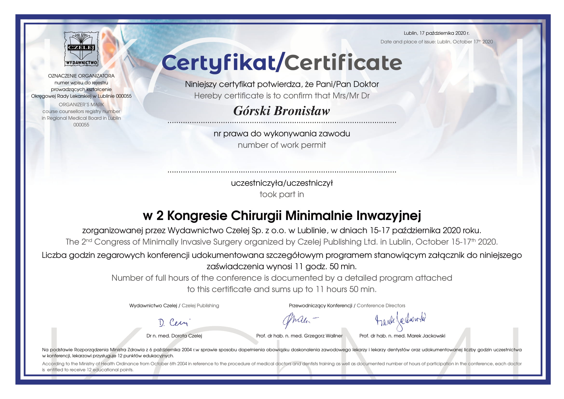 Certyfikat uczestniczenia w 2 kongresie chirurgii minimalnie inwazyjnej